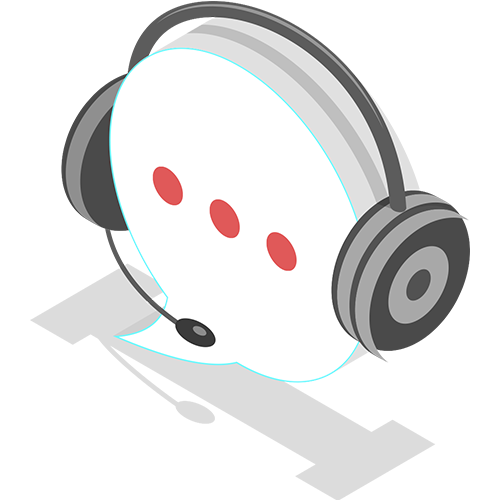 Graphic of Word Bubble with Call Center Headset